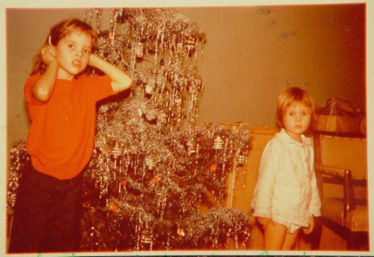 My older sister Melanie and I. Christmas 1959.