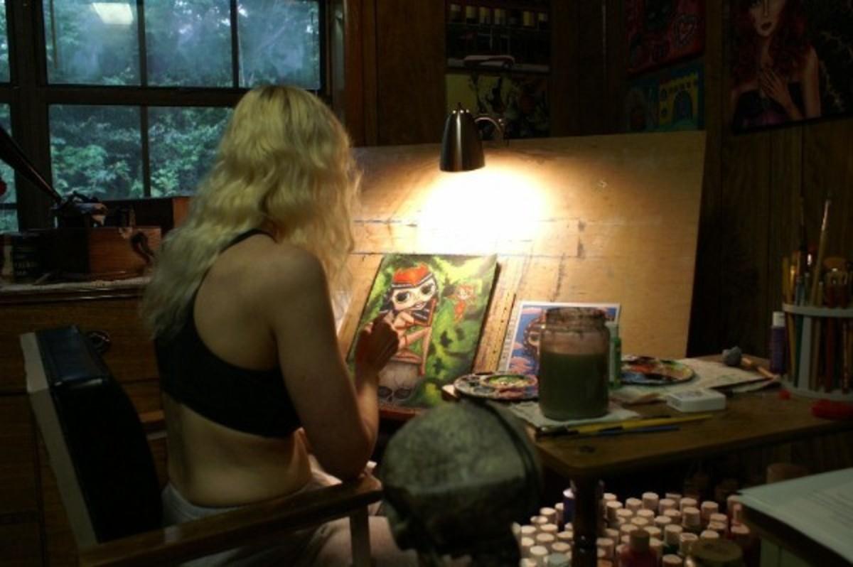 In my art studio burning the midnight oil.