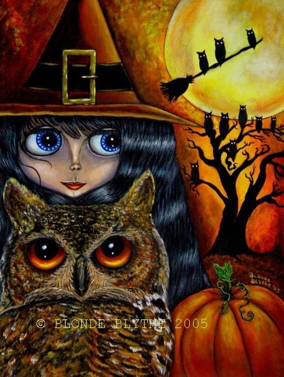 """""""Halloween Blythe Owl Witch"""" by Blonde Blythe 2005"""
