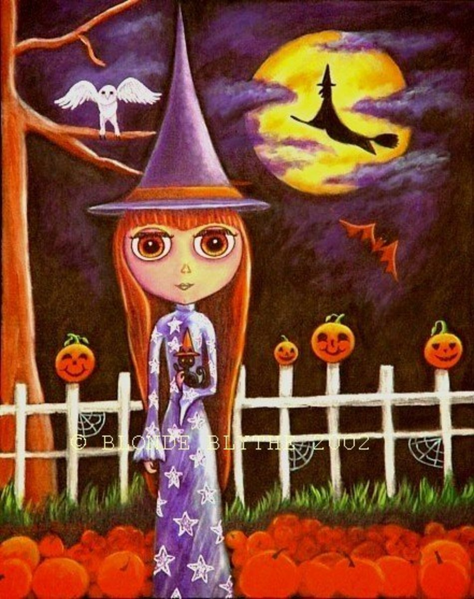 """Halloween Blythe: Pumpkins on the Fence"" by Blonde Blythe"
