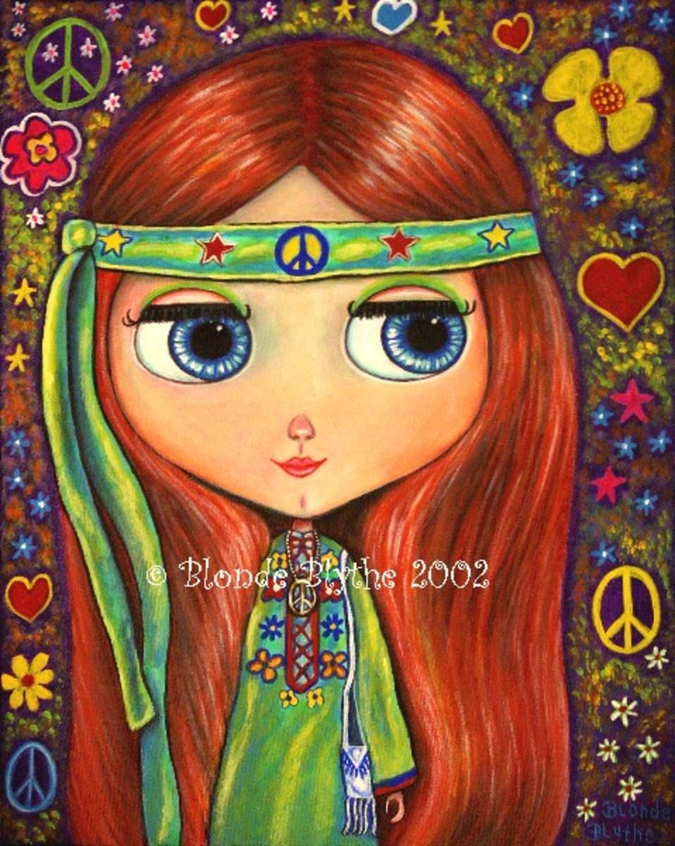 """Peace Hippie Blythe Doll"" by Blonde Blythe"