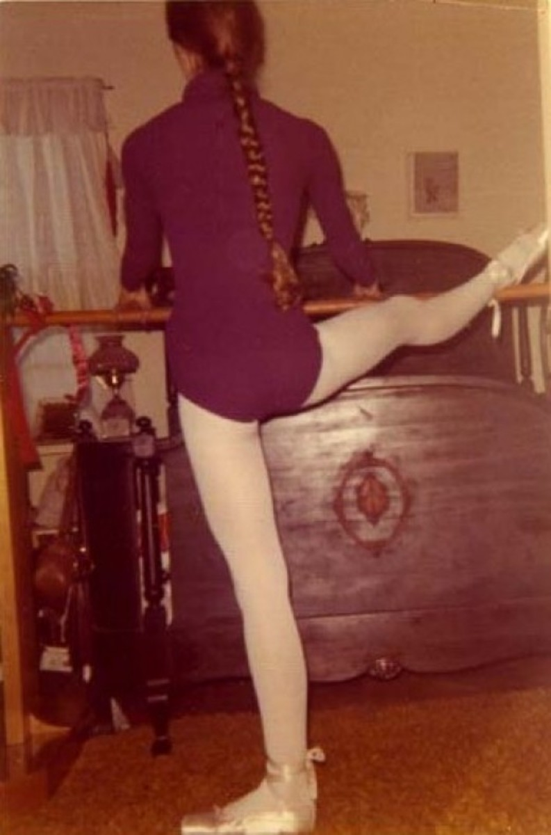 Here I am at the age of fifteen working out at the ballet barre my father made me for Christmas. I was a serious dancer, and used to practice ballet several times a week, in addition to attending ballet class.