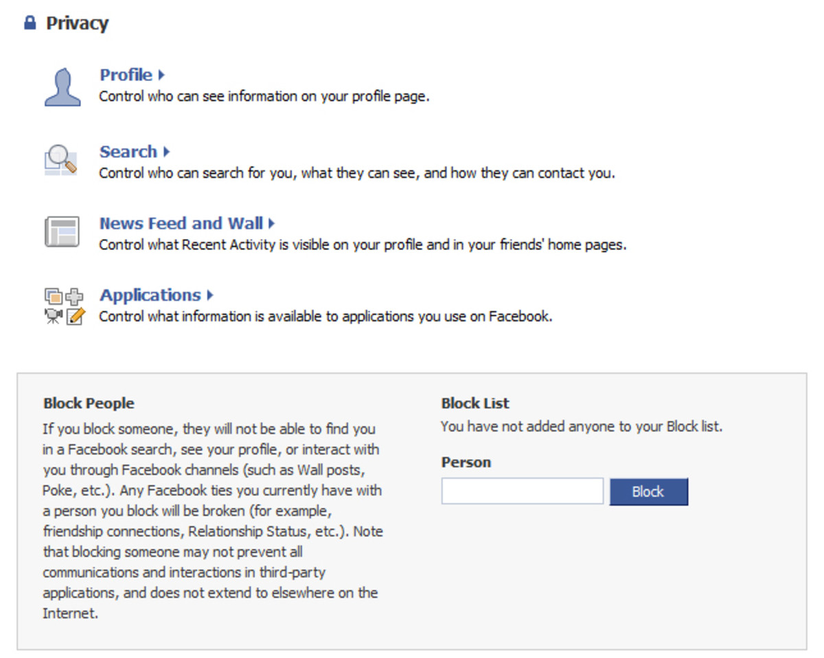 Privacy Settings page