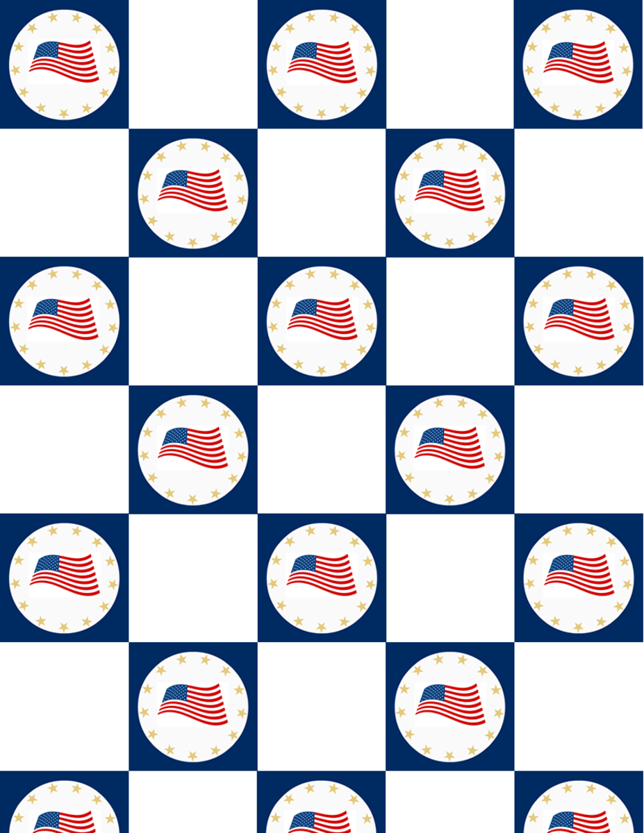 Military scrapbook: Flying flags in blue checkerboard pattern with white squares
