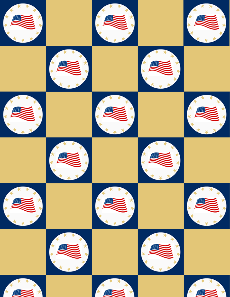 Military scrapbooking: Flying flags in blue checkerboard pattern with gold squares