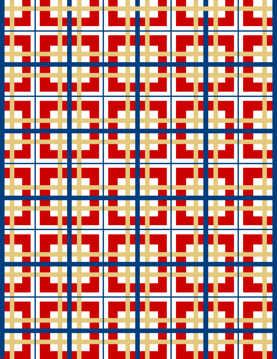 Free patriotic papers: red, white, blue and gold plaid