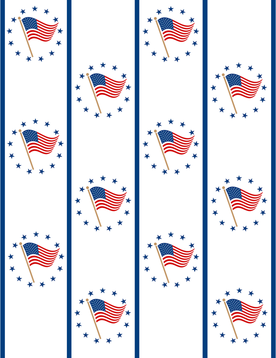 Military scrapbook supplies: Flying flags in blue star circles and blue vertical stripes
