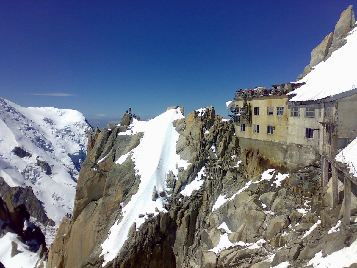 The Aiguille Du Midi Centre Built Into The Mountain