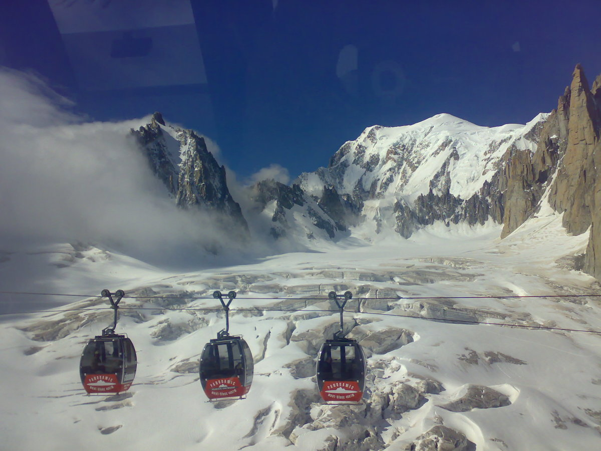 Cable Cars Over The Ice Field - Summit In The Distance