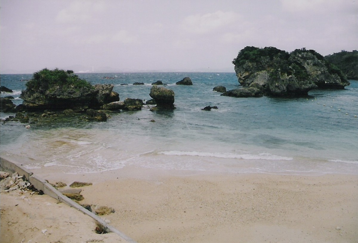 The public beach during the off-season, Ikei Island, just off Okinawa's east coast accessible by the causeway.