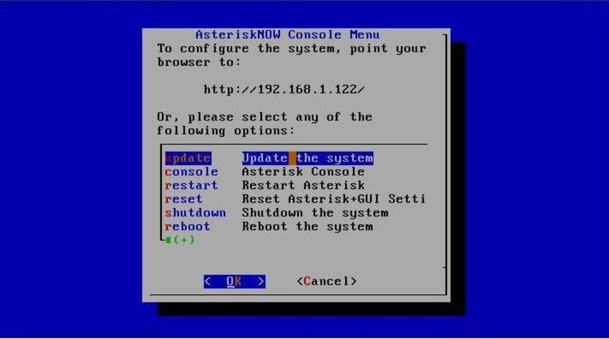 AsteriskNOW console window