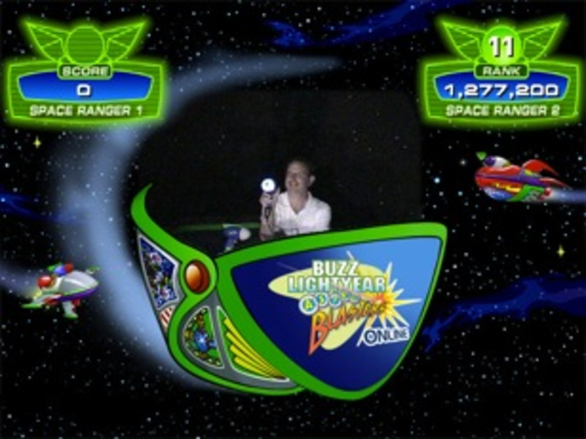 Disneyland photo of me displaying my high score of 1,277,200 on Buzz Lightyear Astro Blasters