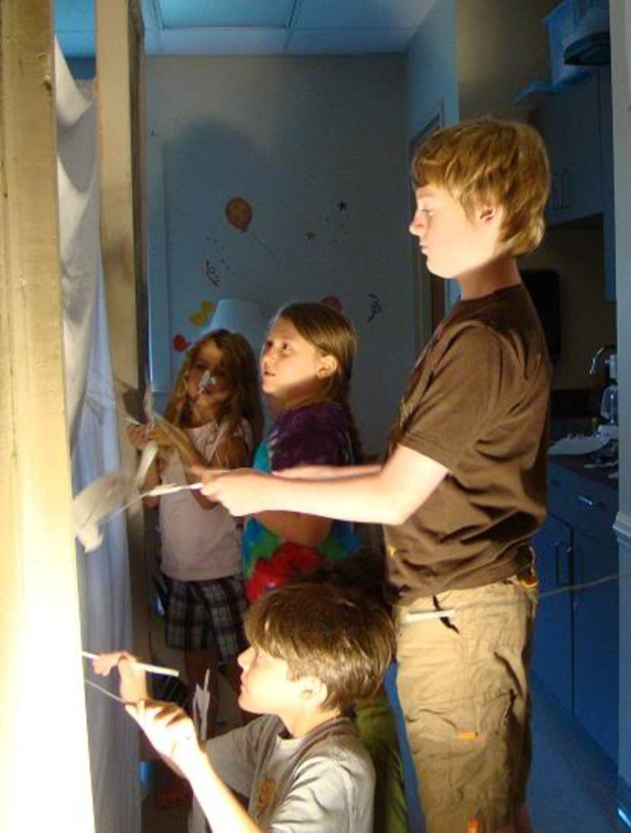 The kids in our homeschool co-op rehearsed their shadow puppet play for several days prior to putting it on during the end-of-the-year program.