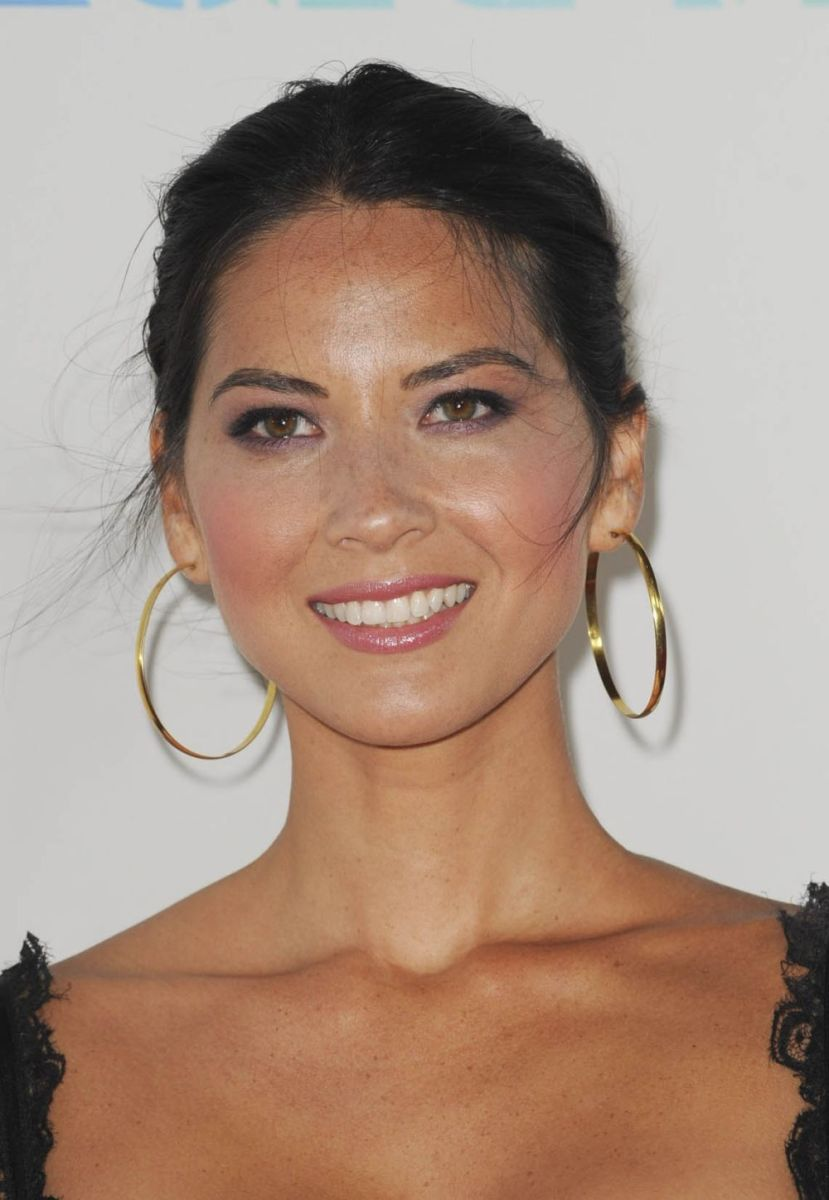Olivia Munn gold hoop earrings