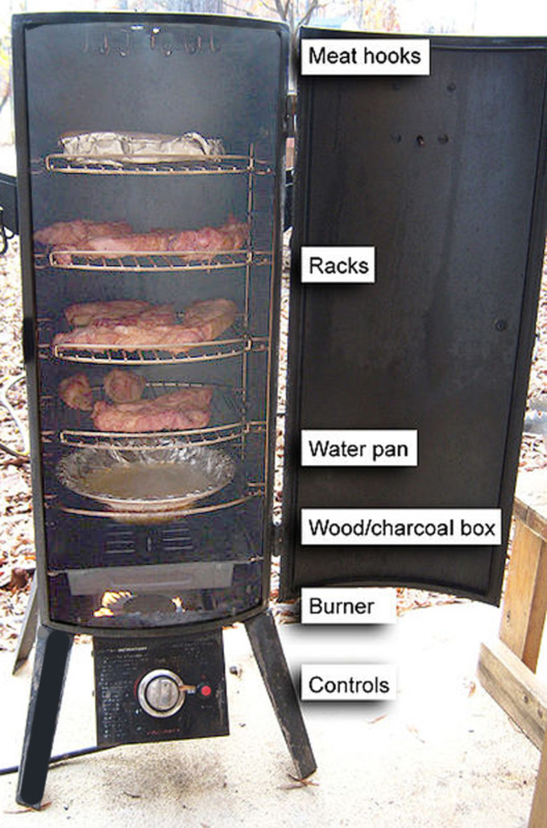 A propane smoker grill showing the lay out of burner, wood chips and meat. Photo: Dennis Brown.