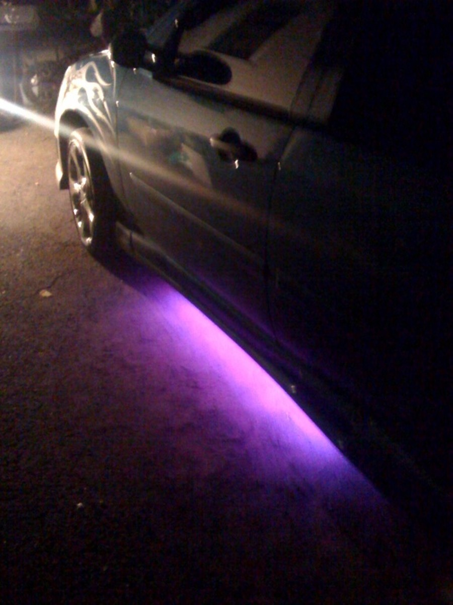 purple neon lights Ford Focus