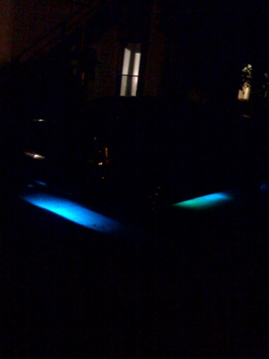 blue neon light ford focus