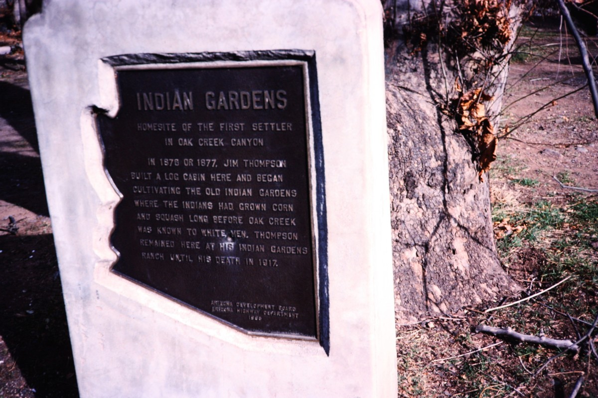 Sign about one of the early settlers in Oak Creek Canyon.