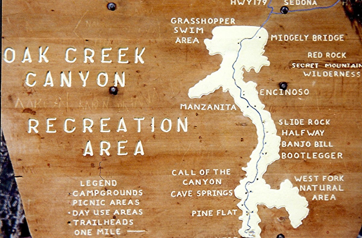 Wooden map of Oak Creek Canyon