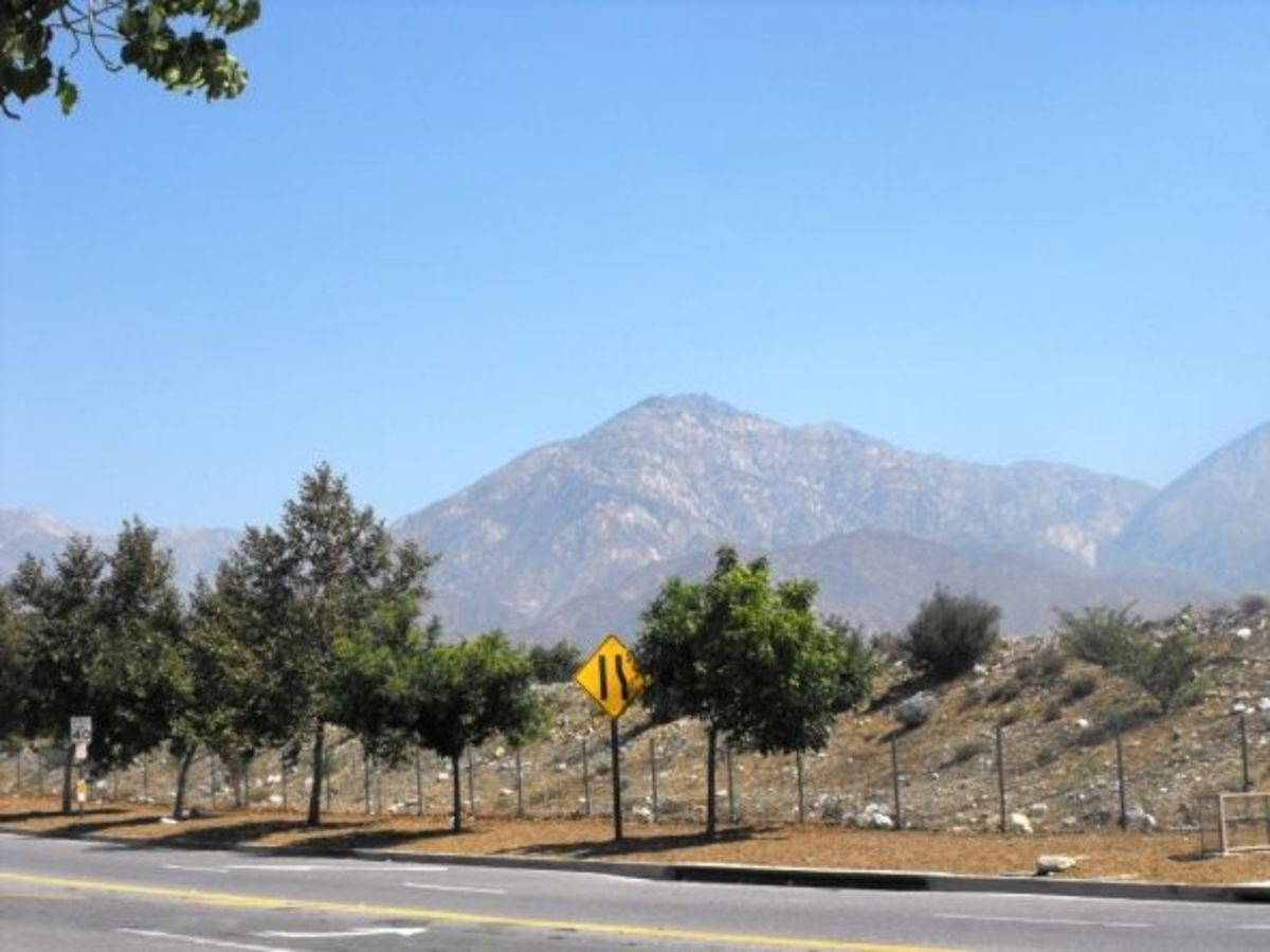 Looking north at the San Gabriel Mountains: origin of all the rocks.