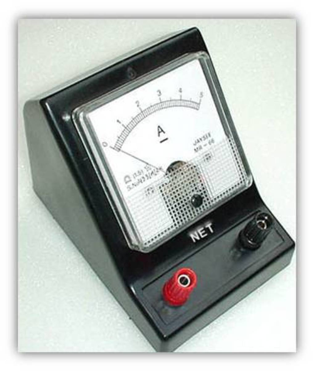 An ammeter is a measuring instrument used to measure the electric current in a circuit.