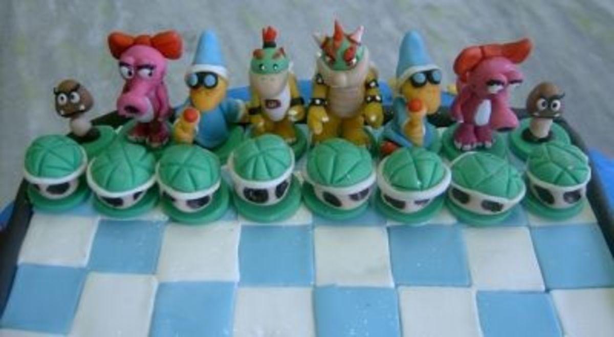 Close up of Mario Bros Chess Board Cake by Ana Fuji