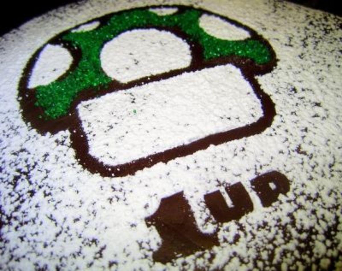 Cute & Easy Stenciled 1 Up Mushroom Cake