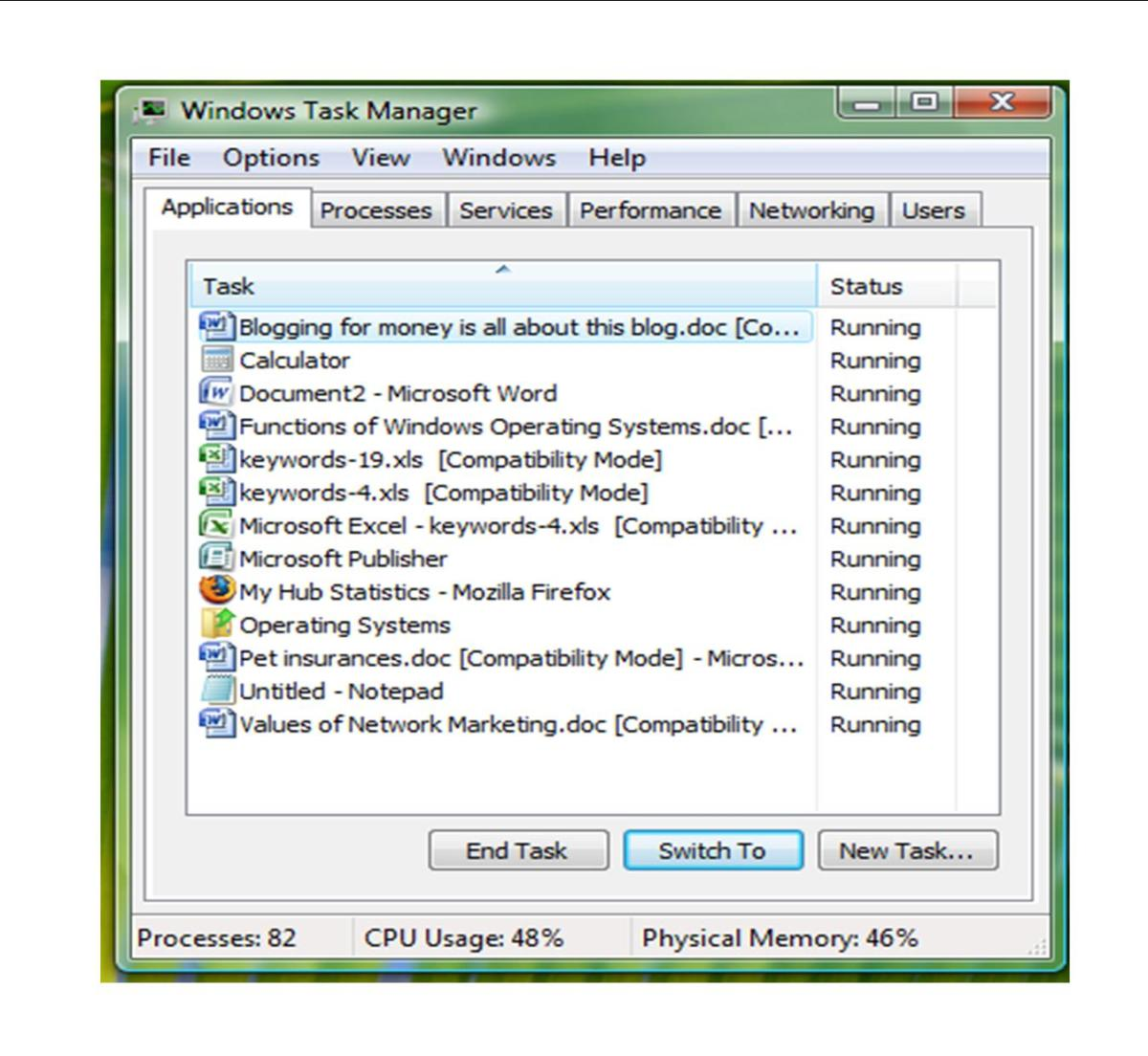 Functions of Windows Operating Systems Task Manager