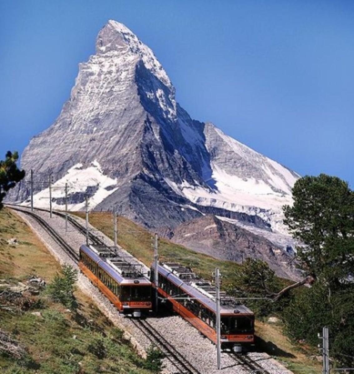 The Gornergrat cog railway and the Matterhorn today