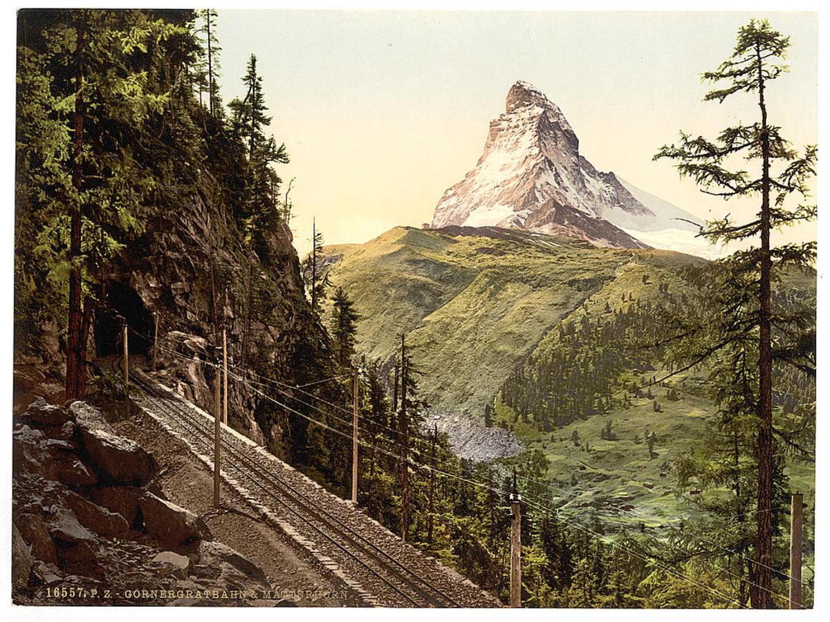 The Gornergrat cog railway and the Matterhorn around 1890