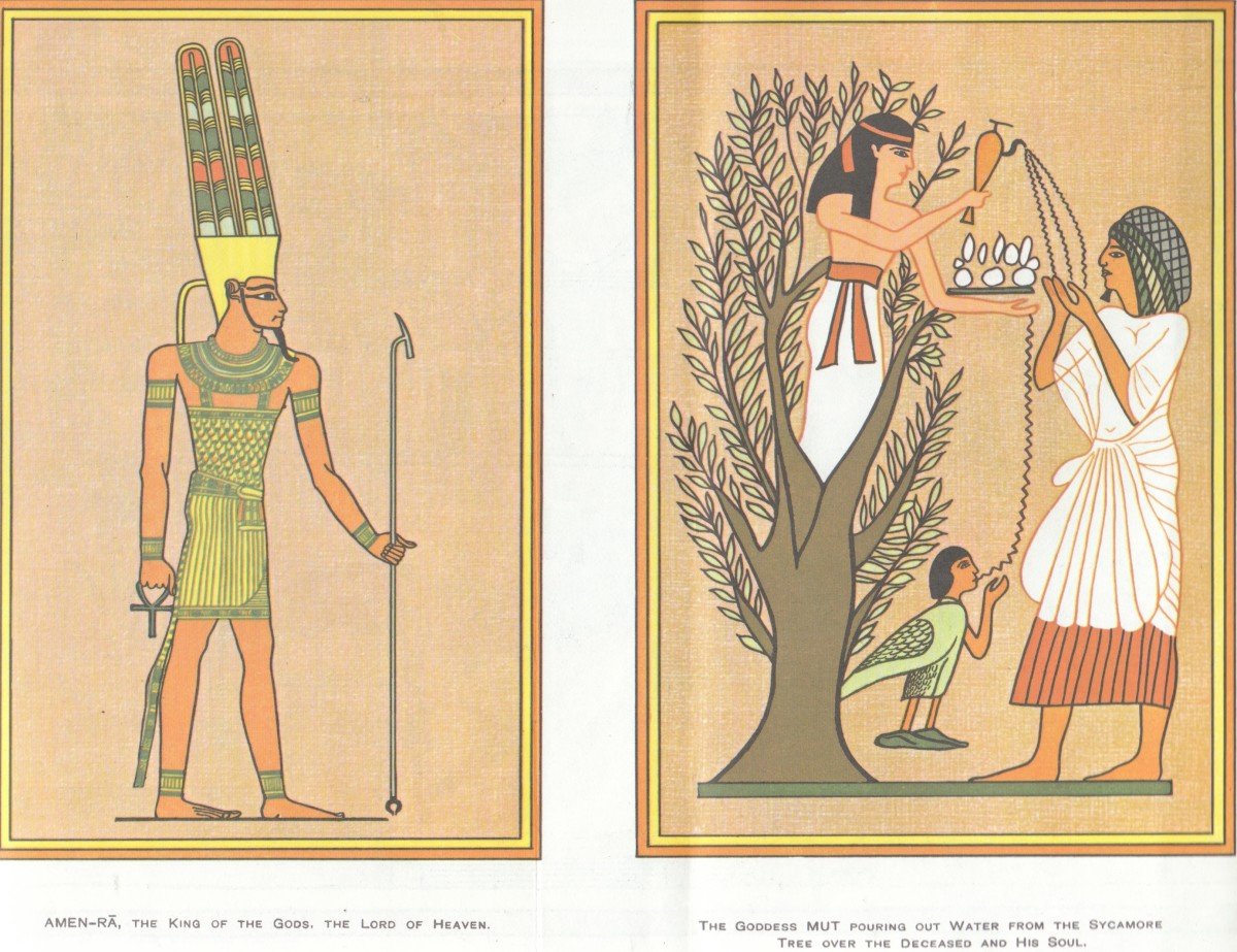 Left - Amen-Ra - King Of The gods ~ The Lord Of Heaven.. Right - The Goddess MUT Pouring out Water From The Sycamore Tree Over The Deceased And His Soul