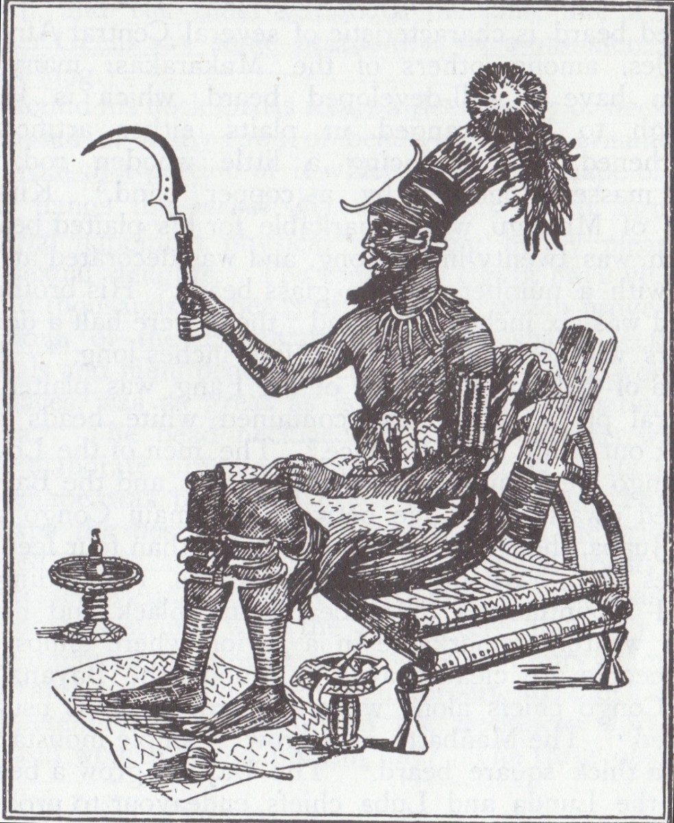 The picture of King Munza, of the Bayanzi supplies a good typical example of the Crowns which great African Kings wore