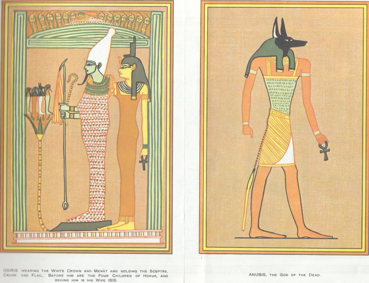 Left Picture - Osiris and his Wife Isis Right Picture - Anubis, The God Of The Dead