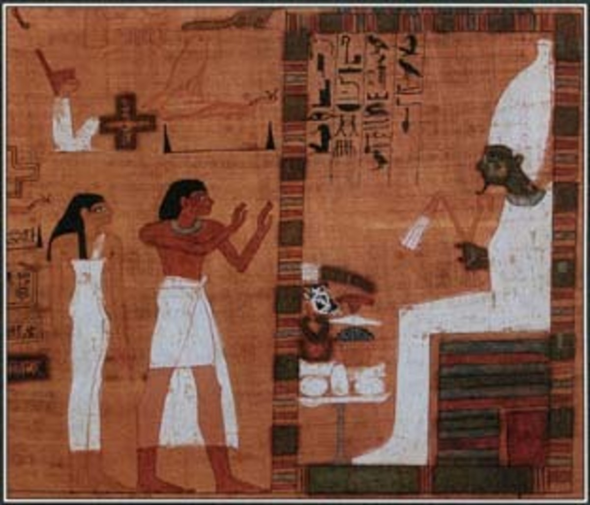 Egyptians believed that their soul had to be judged by Osiris and many other Gods before they could enter eternal life. In this illustrations, souls stand before Osiris at the moment of judgement.