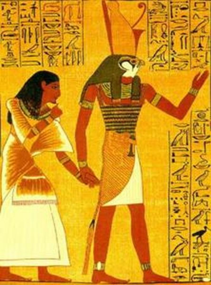 An image from the Book of the Dead shows Horus leading the soul of a dead person to judgment by Osiris.