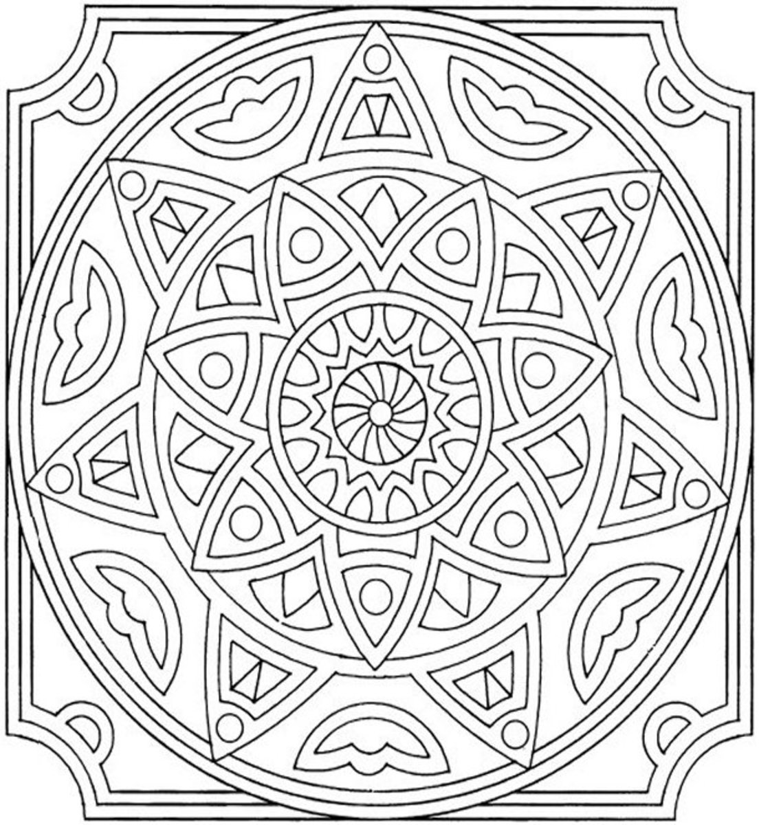 Mandala Pattern A1- Colouring Pictures to print-and-color online.