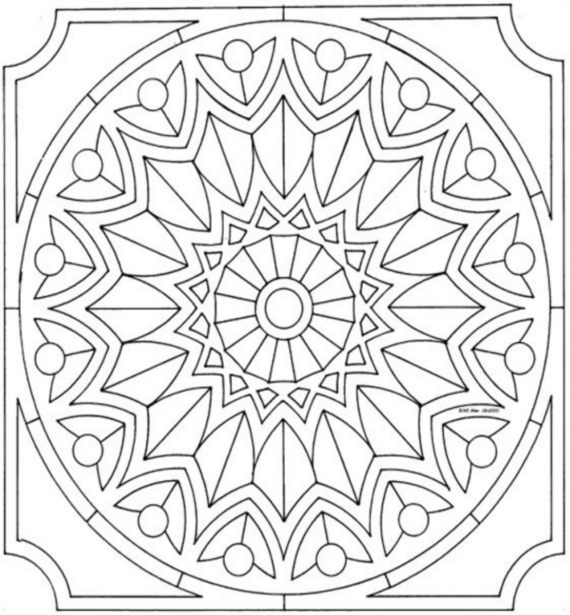Mandala Pattern A2 - Colouring Pictures to print-and-color online.