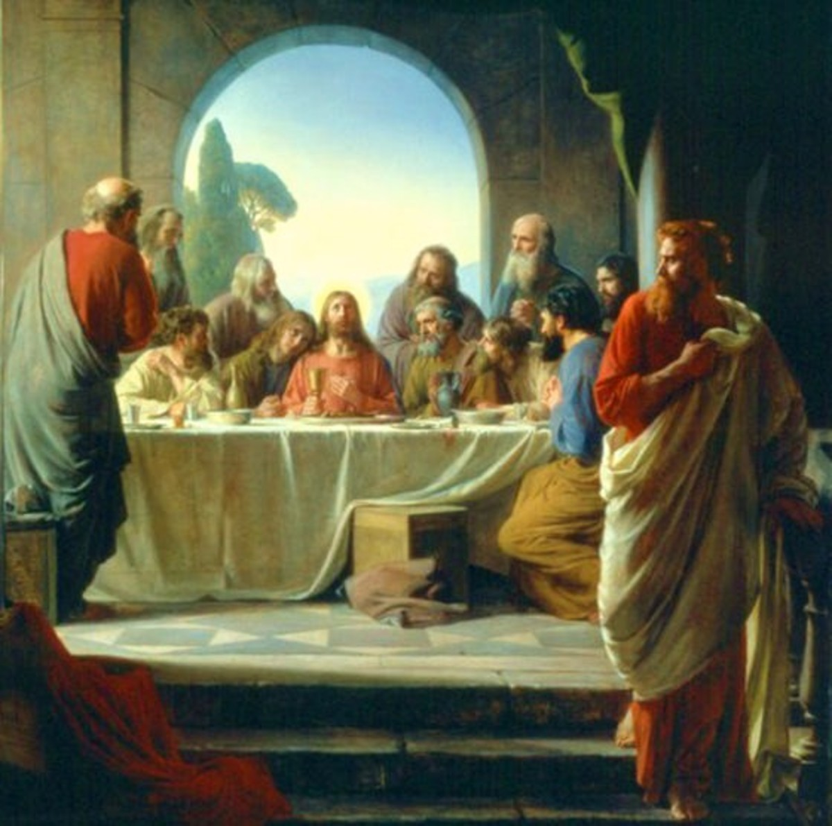 In the photo here Judas with his red hair is leaving the last supper