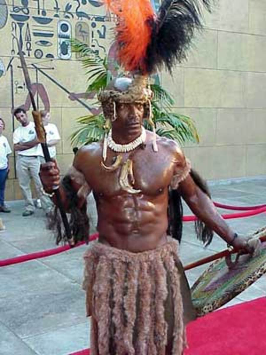 Zulu Man dressed in Zulu Traditional wear worn during the times of Shaka