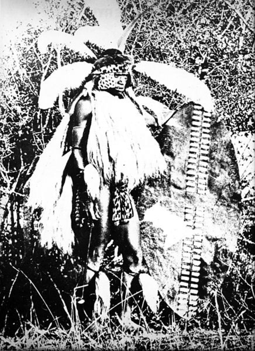 Young Zulu warrior, photographed in 1860. All men younger than 40 was called to service in three age regiments, each with recognisable headgear and shield.