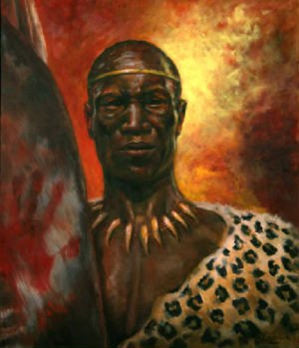 Artistic impression and portrait of Shaka