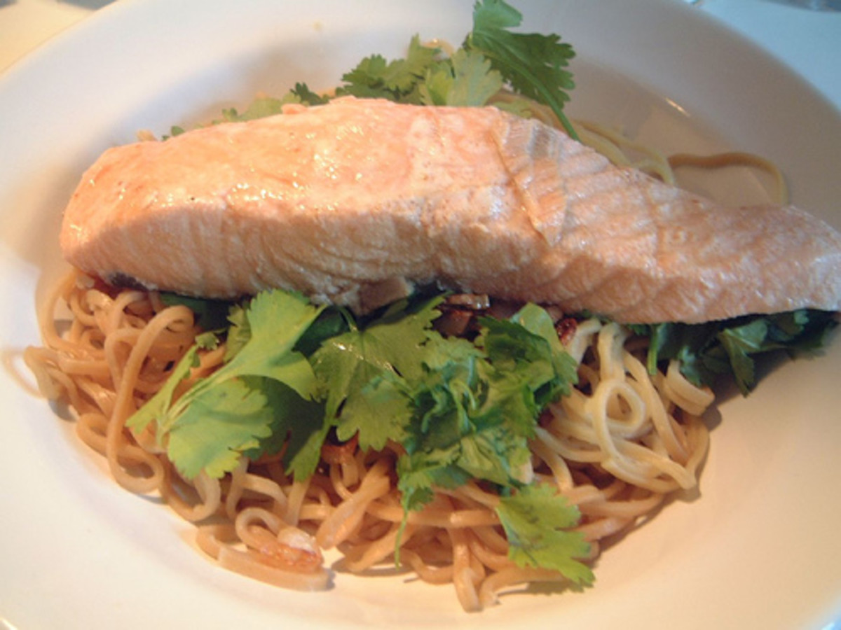 Poached Salmon.  Economy Gastronomy Bedrock Recipe.