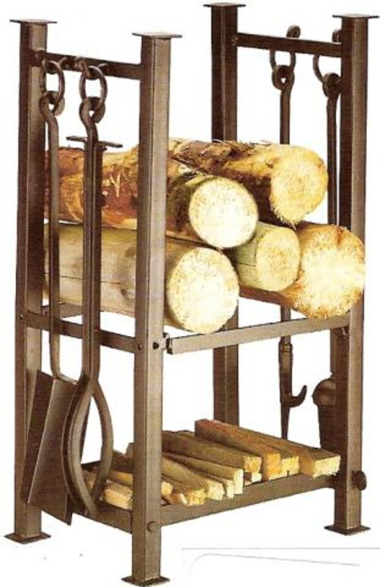 Wood burning stove Accessories: This Fireside Tool Set is Combined with a Fireside Log Container