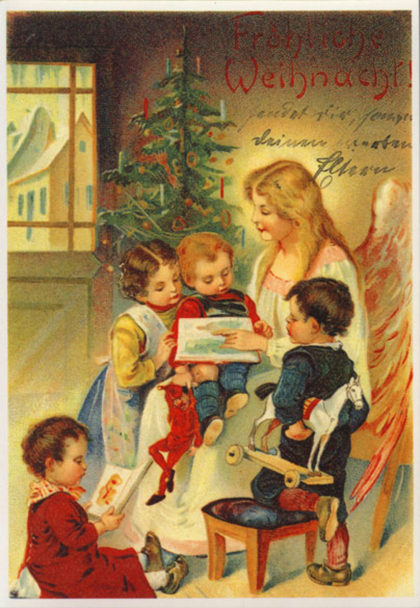 vintage christmas children images. Vintage Christmas Card of Angel Reading Children Story