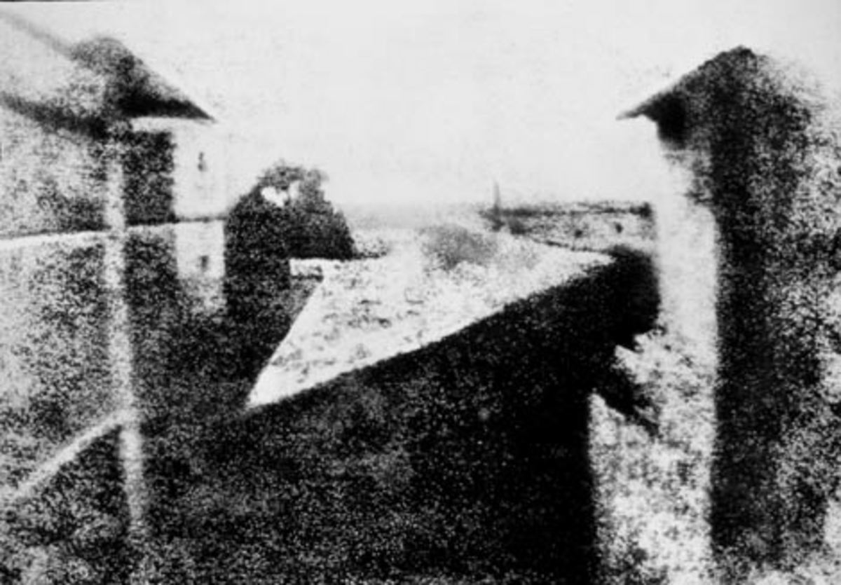 1826 View from the Window at Le Gras, France - world's first photograph taken by Joseph N Niepce.