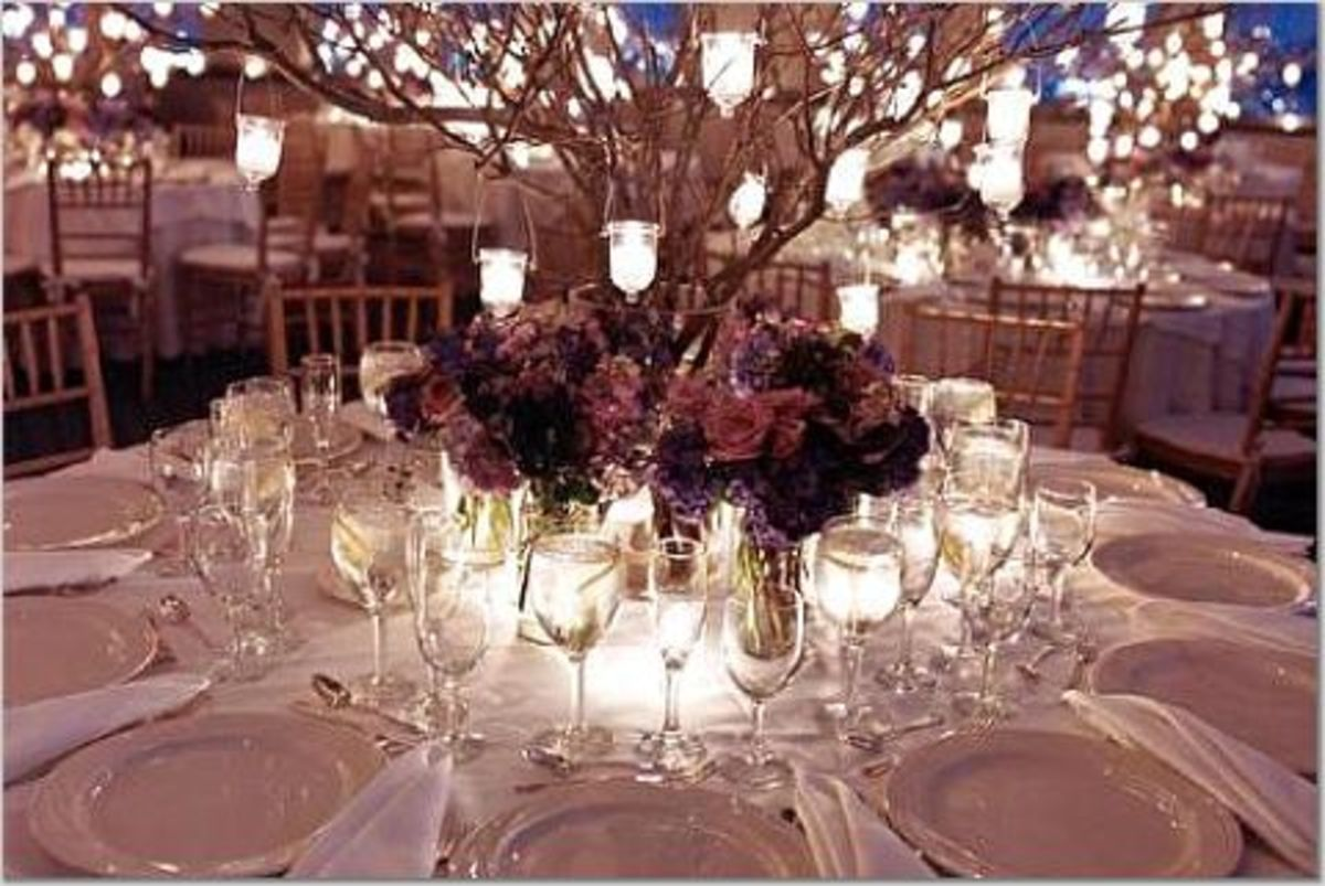 Hanging candles or lighting like this will make the branches shine and shimmer.