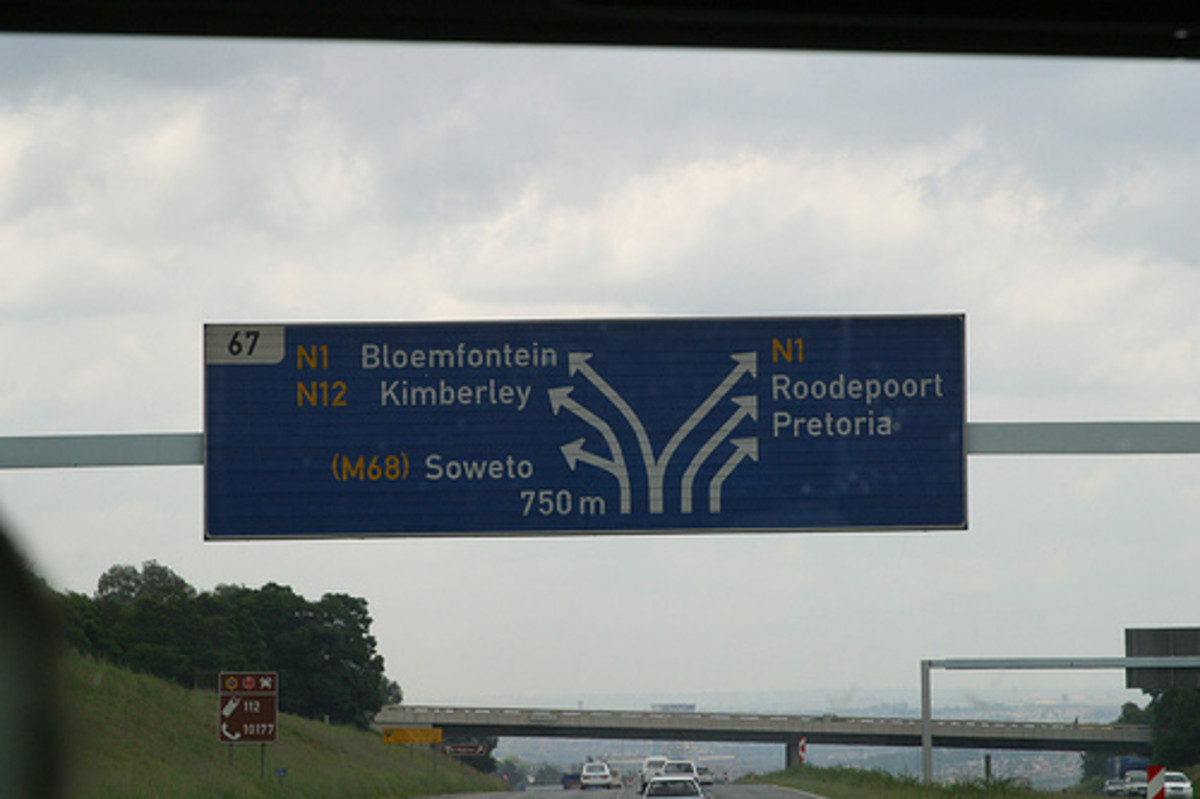 South Africa has a vast and advanced network of Highways and this sign on the the Golden Highway, which partly passes through Soweto in a tangent