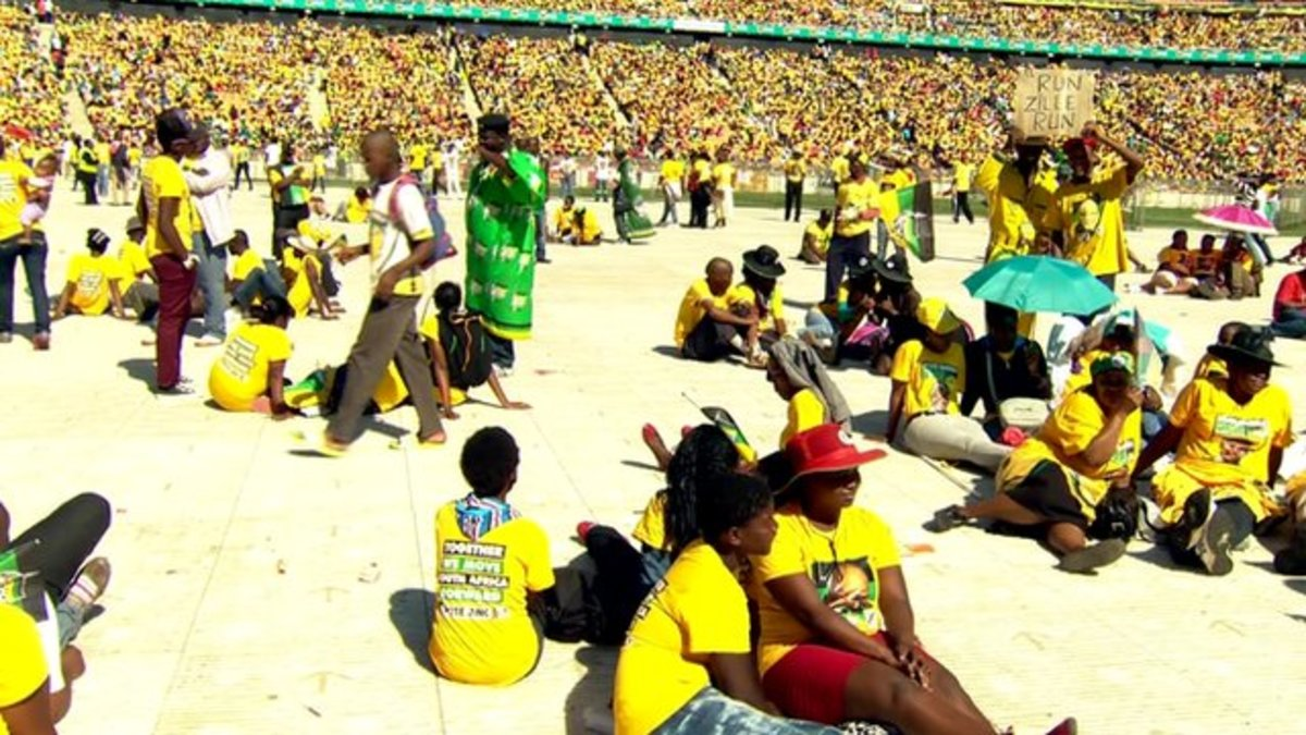 More than 100,000 people have attended a rally for the ANC in Johannesburg ahead of Wednesday's elections. While many voters are concerned about political corruption within the party and slow economic growth, it has managed to retain a huge following