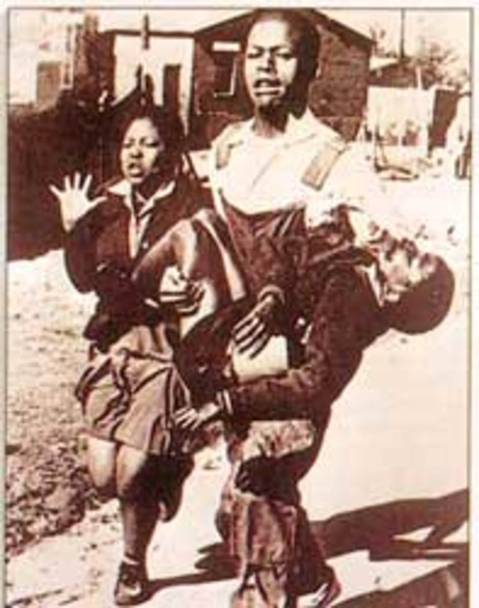 June 1976 Revolution - Mbuyiselo carrying the limp body of Hector Pietersen among the first victims shot by the police at the start of the students march in 1976