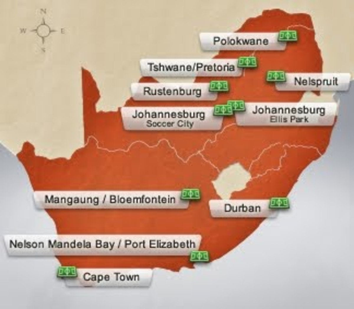 The provinces throughout South Africa where the stadiums for the World Cup will be held fro June 11 to July 11